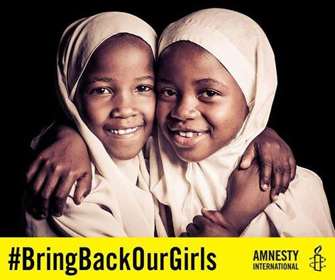 Two Beautiful Young Black Girls echoeing #BringBackOurGirls